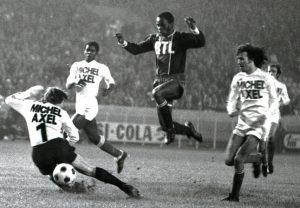 François M'Pelé entouré des marseillais Migeon, Trésor, Zvunka et Buiges