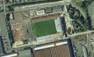Vue aérienne du stade Auguste-Bonal en travaux