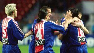 La joie des parisiens après l'ouverture du score de Florian Maurice