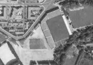 vue aérienne du stade de la Mosson en travaux