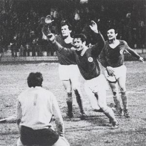 La joie des parisiens après l'ouverture du score de Bernard Béreau en toute fin de match