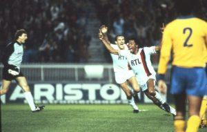 La joie d'Alain Couriol et de Pascal Zaremba après l'ouverture du score du premier