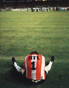 La concentration de Jean-Michel Moutier avant la séance de tirs au but...
