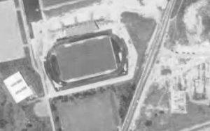 Vue aérienne du Parc des Sports en 1984