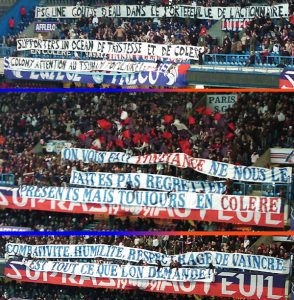 Les banderoles du Virage Auteuil