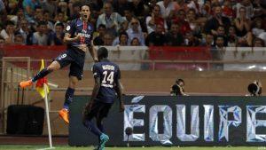 La joie d'Edinson Cavani et de Blaise Matuidi, respectivement buteur et passeur : 0-1!
