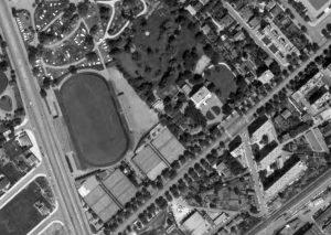 Vue aérienne du stade Lesdiguières