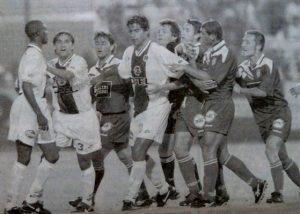 Oumar Dieng, cible de la colère des Corses suite à un tacle sur Rodriguez (photo G. Baldocchi, source : Corse Football)