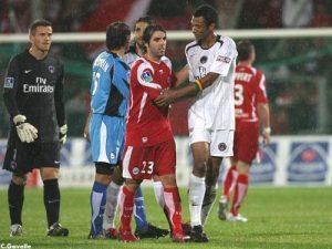 Mickaël Landreau et Édouard Cissé à la fin du match (Ch. Gavelle)